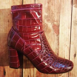 Faux croc skin boots